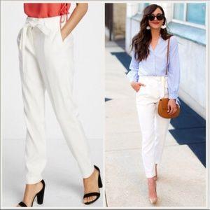 NEW  White Linen Blend Sash Waist Ankle Pants